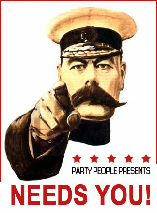 """PartyPeoplePresents Needs You!!!  That's right help us find songs with """"Party People"""" samples in and anyone whose sample we choose to use we'll let you submit us a track into a special mix we record as a thank you.   That's it simples... Rules. Can be any song... Just send us a link... the name of the track and maybe even a hashtag...#partypeoplecomp"""